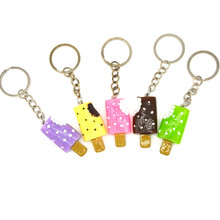 Creative Resin Pendant Cream Ice cream stick Ice keychain Bag Vehicle Key Chains Motorcycle Bus Keyring For Women Man Jewelry