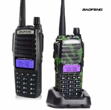 Baofeng UV-82 Dual Band U/V Walkie Talkie FM SOS Flashlight with Double PTT Earpiece 5W Transmit Power Handheld Two Way Radio(China)