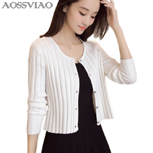 AOSSVIAO Knitted Cardigan Women 2017 Spring Autumn Long Sleeve Sweater Cardigan Female Single Button Pull Femme Black White Gray
