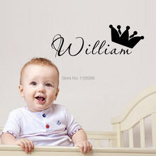 Custom Any Kids Name Crown DIY Wall Sticker Art Decals for Tiny Tots Room Decor