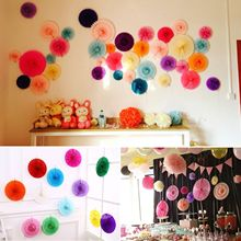 Hot New 5pcs/Lot Holiday Supplies Paper Fan Wholesale/Retai Tissue Paper Fan Crafts Party Wedding Decoration 20cm