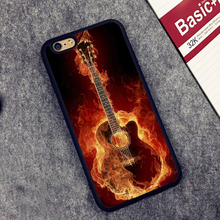 Guitar Fire Music Band Rock Printed Soft Rubber Mobile Phone Case OEM For iPhone 6 6S Plus 7 7 Plus 5 5S 5C SE 4 4S Back Cover