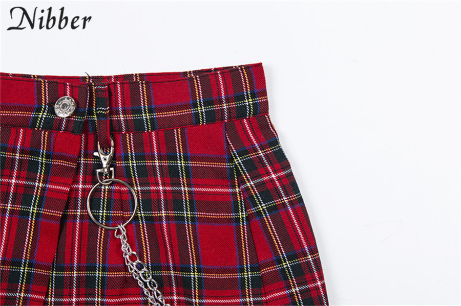 Nibber spring Vintage red Plaid mini skirts Women 19 summer fashion office lady club party casual short pleated skirts mujer 15