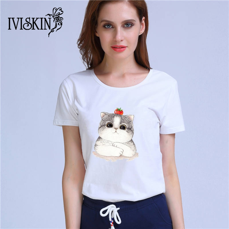 Funny white cat t shirt woman lovely popular trends cute cotton shirts Good quality brand soft shirt casual tops(China)