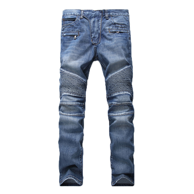Men's Fashion Brand Designer Ripped Biker Jeans Men Distressed Moto Denim Joggers Washed Pleated Jean Pants Black Blue 9