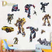 Movie Transformers Optimus Prime Bumblebee Cartoon Wall Stickers For Kids Rooms Boys Room Bedroom Decoration Vinyl Poster Mural