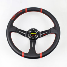 14 inch/350mm Momo Steering Wheel Aluminum Deep Dish Genuine Leather Red Stitching Racing Steering-Wheel