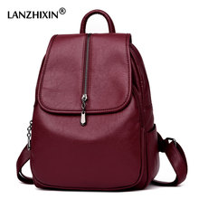 Lanzhixin Women Vintage Backpacks High Quality Leather Backpacks For Teenage Girls Sac A Main Female School Shoulder Bags 1082(China)