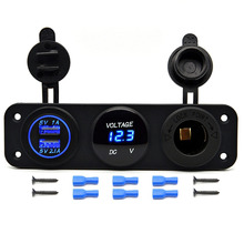 Triple Function 3.1A Dual USB Charger Blue LED Voltmeter 12V Outlet Socket Panel Jack Marine for iPhone Samsung Mobile Phone Tab(China)