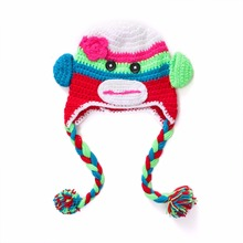 Baby Crochet Owl Hat Pocket monkey child cap Needle hook baby hat Photography props Bear child cap Halloween costume(China)