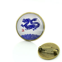 China blue and white Chinese zodiac pture brooches Chinese dragon pins Promotion exquisite logo badge C 1191(China)