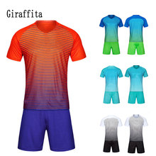 Men Soccer Jersey Football Sets Training Suit Clothes Set Short Sleeve Uniforms Adult Wear Quick Dry Sports Clothing(China)