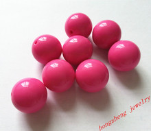 Bright Hot pink Large 20MM 105pcs Big Chunky Gumball Bubblegum Acrylic Solid Beads ,Colorful Chunky Beads for Necklace (B01)(China)