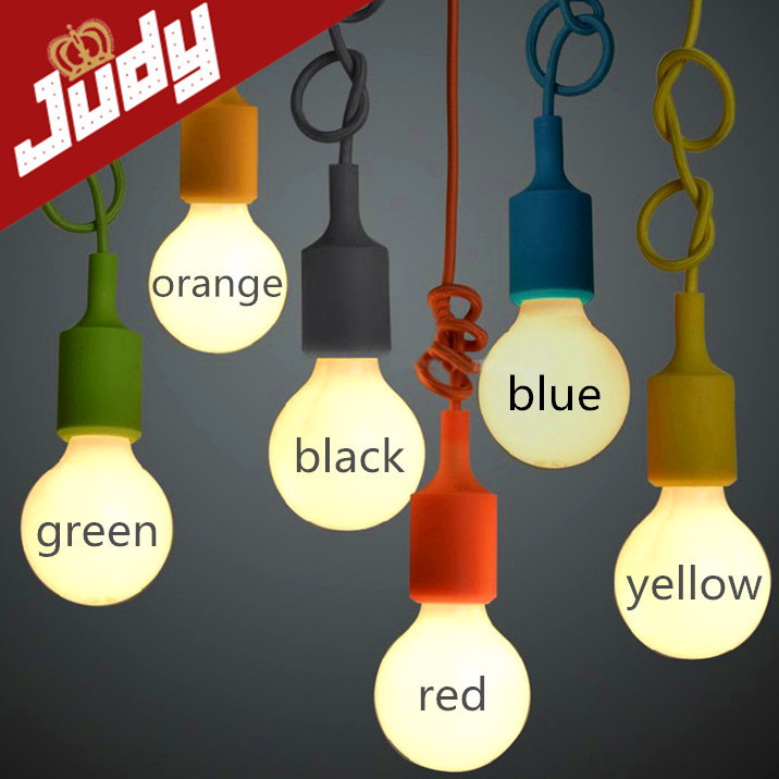 E27 colorful silicone lamp holder 110-220v pendant light 9 color DIY pendant lights +100cm cord+ceiling base Pendant lamp<br><br>Aliexpress