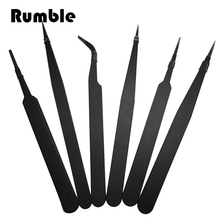 6pcs/set Antistatic Stainless Steel Curved Straight Eyebrow Tweezers Jewerly Nail Art DIY Hand Repair Make Up Tools