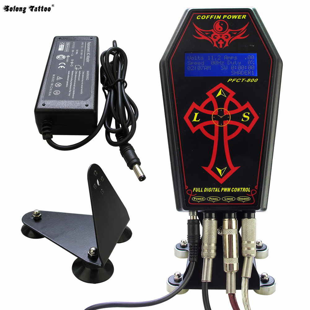 Solong tattoo Pro Tattoo Power supply Coffin Clock For Tattoo Machine Gun Kit  P134<br>