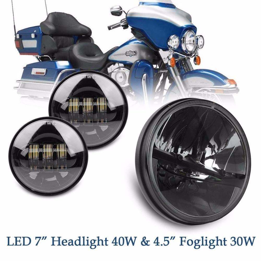 7 Headlight 40W + 4.5 LED Auxiliary Foglights Daymarker For Harley Davidson Electra Glide Softail Street Glide Road King Motor<br><br>Aliexpress