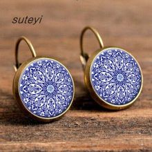 SUTEYI Charms mandala earring henna flower yoga pendant ear cuff om zen buddhism glass cabochon earrings fashion jewelry