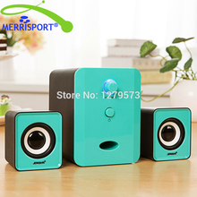 MERRISPORT 2.1 PC Speakers with Dual Subwoofers and Control Box For Phone Computers Laptop MP3/4 Player Music System Tablet Blue(China)