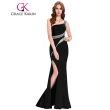 Grace Karin Sequin Long Prom Dresses Black Red Royal Blue Green One Shoulder Formal Evening Gowns Party Special occasion Dress(China)