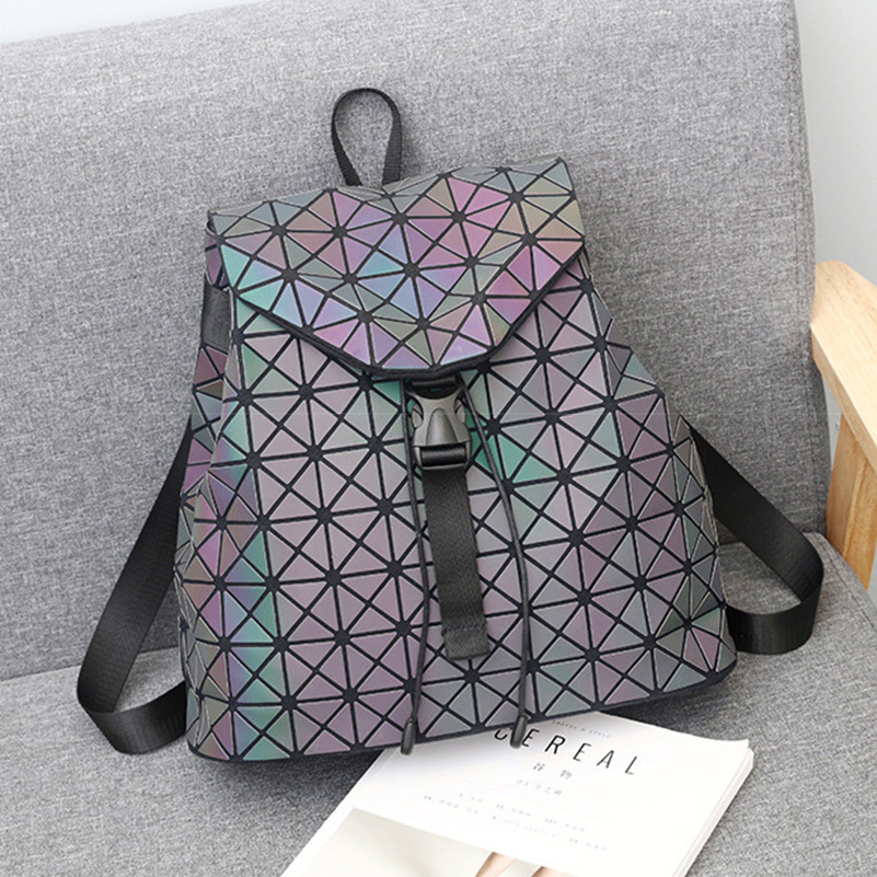 Nevenka Luminous Backpack Women Leather Geometric Backpacks Diamond Lattice Backpack Travel Girls Casual Daypacks Fashion 201804