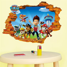 3d Ryder Marshall Rubble Cute Cartoon Wall Sticker decals children Vinyl Art Decals Kids Rooms Decor Boy's Gift(China)