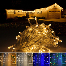 LED Curtain Icicle String Lights AC 220V Fairy Lights 4M 5M 8 Function For Christmas Wedding Party Holiday Lights(China)