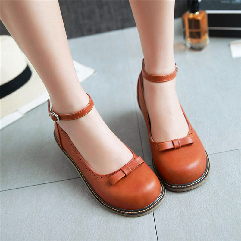 New 2017 Vintage Brogues Womens Flats Round Head Bow Ankle Buckle Leather Shoes for Women Mary Jane Shoe N862<br><br>Aliexpress