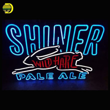 Neon Sign AUTHENTIC SHINER WILD HARE PALE ALE Glass Tubes Neon Bulb Signboard lighted signs neon light for sale personalised(China)