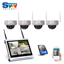 Plug And Play 4CH Wireless NVR CCTV Kit+12'LCD Screen 1TB HDD&960P HD Outdoor Weatherproof 30 IR WIFI Surveillance Camera System