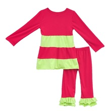Latest Style girls Fall Winter Remake Clothes Red Green Full Sleeve Top Red Pants With Ruffle Set For Girl Christmas Wear C029