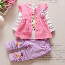 Kids Brand Clothes Sets Toddler Tracksuits Fashion Autumn Children Girls Garment Baby Flower Vest T-shirt Pants 3Pcs Suits