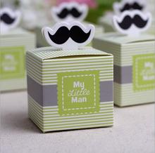 "20pcs ""My Little Man"" Mustache Blue Green Birthday boy baby shower Candy Box Gift Packaging Chocolate Boxes Baby Shower Favors"