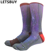 LETSBUY men cotton knee high long tube basketball socks 3D printing colored art style sports sockken for soccer football sox
