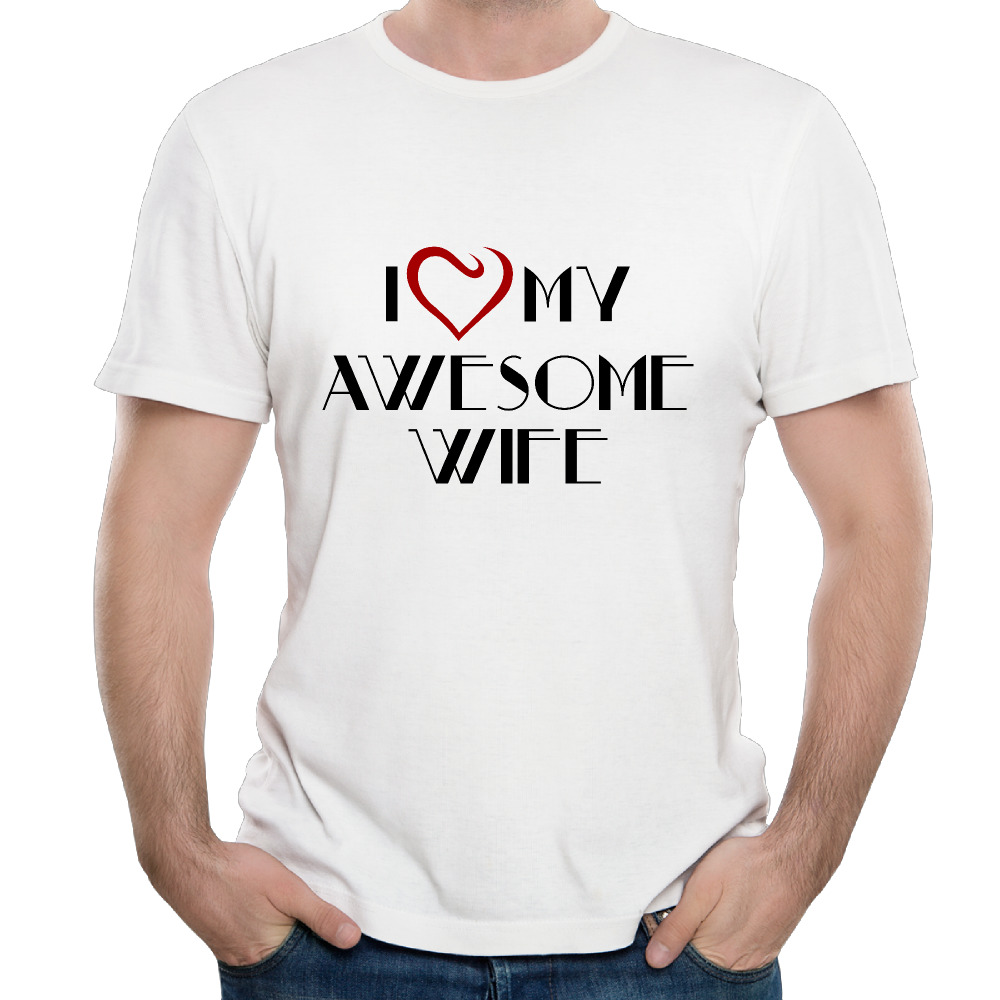 New Fashion I Love My Awesome Wife Men T shirt Short Sleeve hipster Men Casual Tees(China (Mainland))