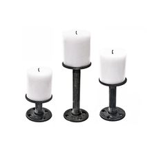 1PC Industrial Iron Pipe Metal Candle Holder Candlestick Stand Romantic Wedding Dinner Home Decoration Pillar Holder Z59