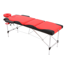 Abody Adjustable 3 Fold Massage Table Portable Mixed Color Salon SPA Therapy Tattoo Beauty Massage Bed Device with Carrying Bag(China)