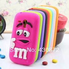 For Samsung Galaxy S3 mini Chocolates MM Beans 3D Silicone Cartoon Soft Cell Phone Cover Case for Samsung galaxy S3mini i8190