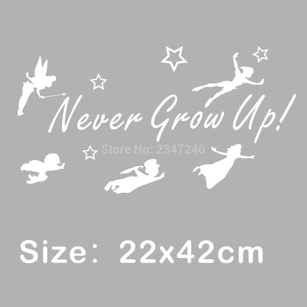 Online get cheap fairy wall aliexpress alibaba group never grow up quotes wall decals tinker bell wall stickers fairy home decor for kids room amipublicfo Images