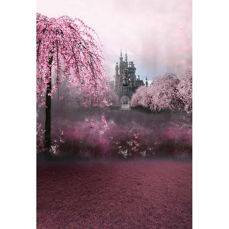 Custom washable wrinkle resistant print pink floral castle photo studio backgrounds for portrait photography backdrops CM-2784-A<br>