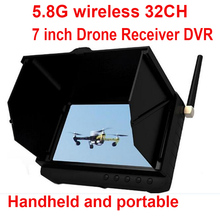 "32CH 5.8G FPV wireless receiver 7"" LCD display monitor FPV DVR wireless 5.8G CCTV camera receiver monitor drone receiver DVR"