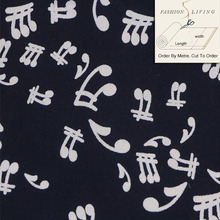 140cm Wide Music Notes Block Print Rayon Fabric Hand Carved Print Apperal Black Fabric Cloth Material By The Meter