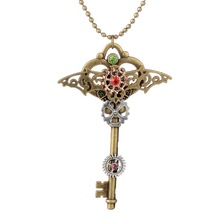 Punk Style Industrial Stage Steampunk gear Key Pendant Fashion Necklace In Bronze Ox Color