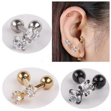 2 Pieces Gold Silver Black Surgical Stainless Steel Earring Stud Punk Love Heart Zircon Ear Tragus Piercing For Men Women