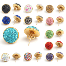 Yunkingdom Fashion round shape lovely stud earrings female stainless steel rhinestone earring wholesale/retail(China)