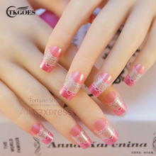 TKGOES 24PCS/Set Acrylic Nails Art Tips Pre Designer Nail tips False French Nails Full With Glue JQ220