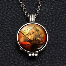 Perfume Aroma Pendant Necklace With Foam 25mm Glass Charms Sailing boat Multi Pattern For Man Women & Girl DZ1752