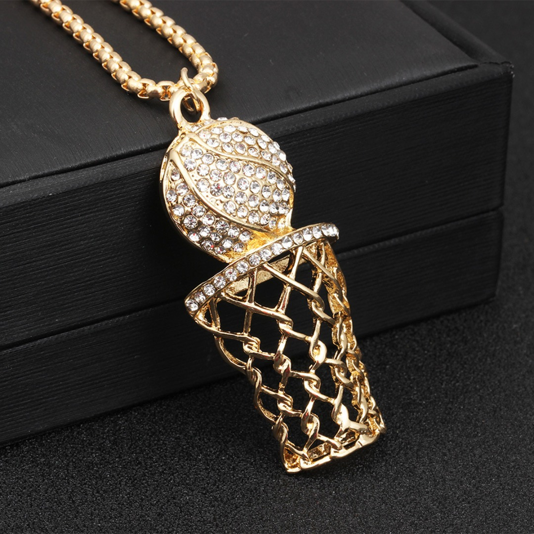 Trendy Hip Hop Punk Basketball Hoop Net Pendant Necklace Luxury Charming Shining Crystal Gold Chain Sport Jewelry Gifts For Men