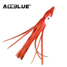 ALLBLUE 10pcs/lot 8cm Luminous Fishing Octopus Skirt Squid Lure Jig Octopus Jigging Spoon Soft Bait Squid Lures(China)