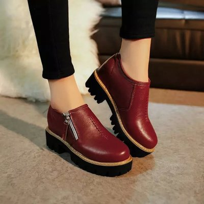 2017 Autumn Winter Woman Fashion Martin Shoes Motorcycle Boots Vintage Ankle  Female Platform Bullock Boots Heel  Woman 3Color<br><br>Aliexpress